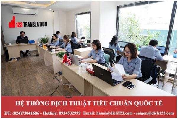 Dịch thuật chuyên nghiệp 123 - Công ty phiên dịch uy tín.