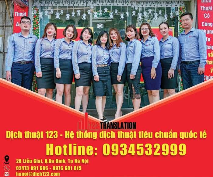 Đội ngũ nhân viên của Dịch thuật 123 Việt Nam